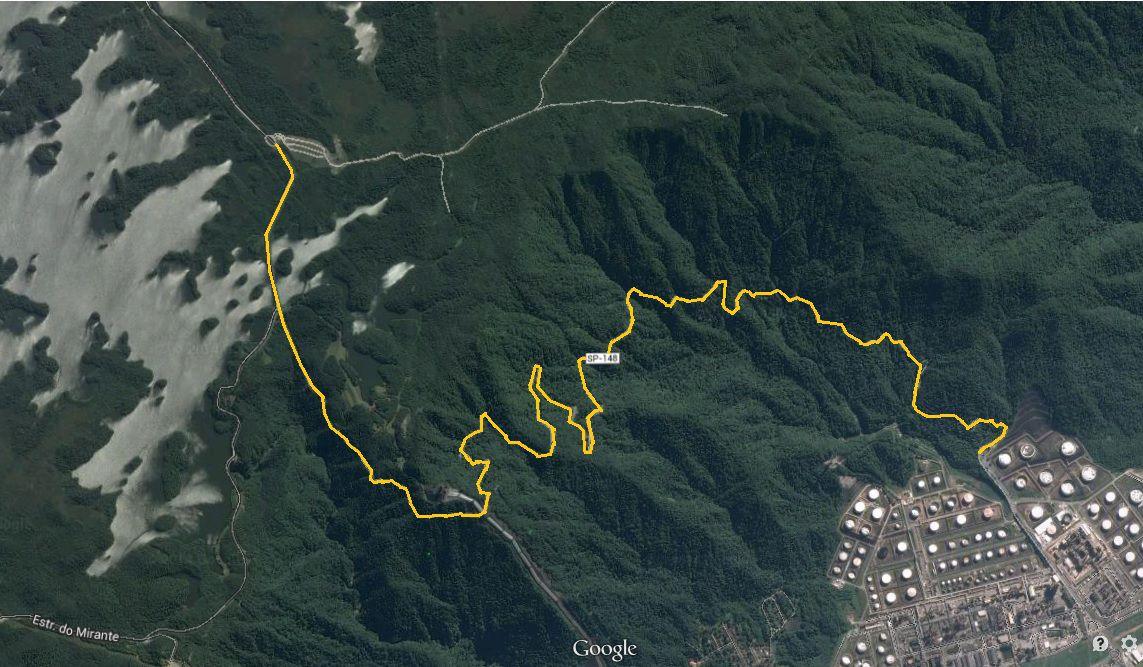 Mapa do percurso, do alto da serra até a planície. Foto: Google Maps.
