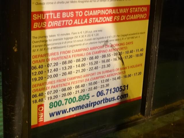 Horário do ônibus - Aeroporto de Ciampino - Estação de Trens.