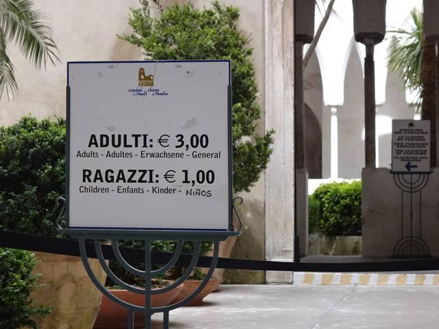 Preço da entrada para visitar a Catedral de Amalfi.