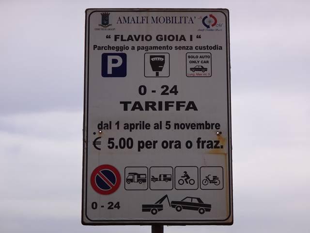 Estacionar em Amalfi é mais caro do que em Positano.