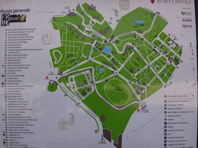 Mapa da Villa Borghese.